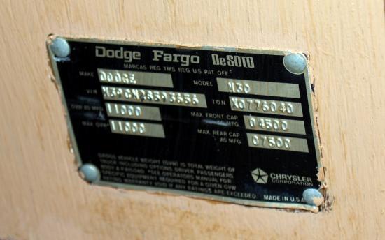 Dodge Fargo Desoto Tag